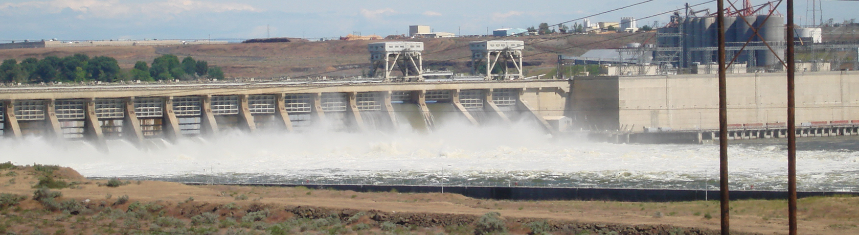 Photo of hydropower dam at the river.